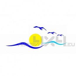 Adesivo logo camper sole mare gabbiani