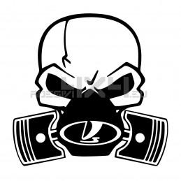 Adesivo Skull Piston gas mask Lada