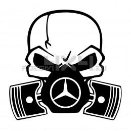 Adesivo Skull Piston gas mask Mercedes