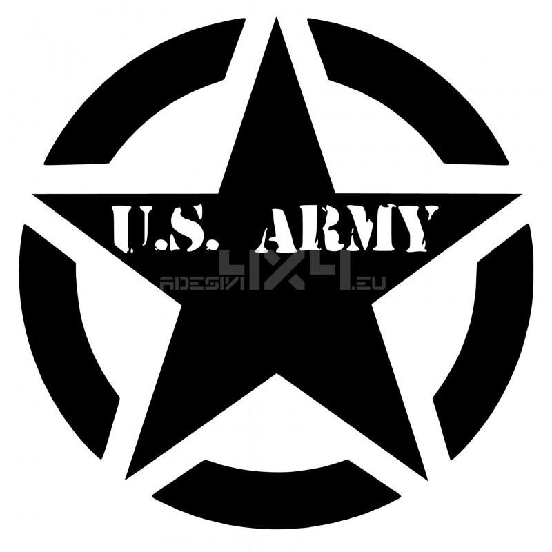 Adesivo stella scritta us army v2