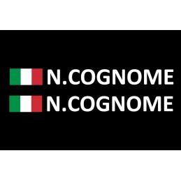 adesivo bandiera italia nome cognome rally