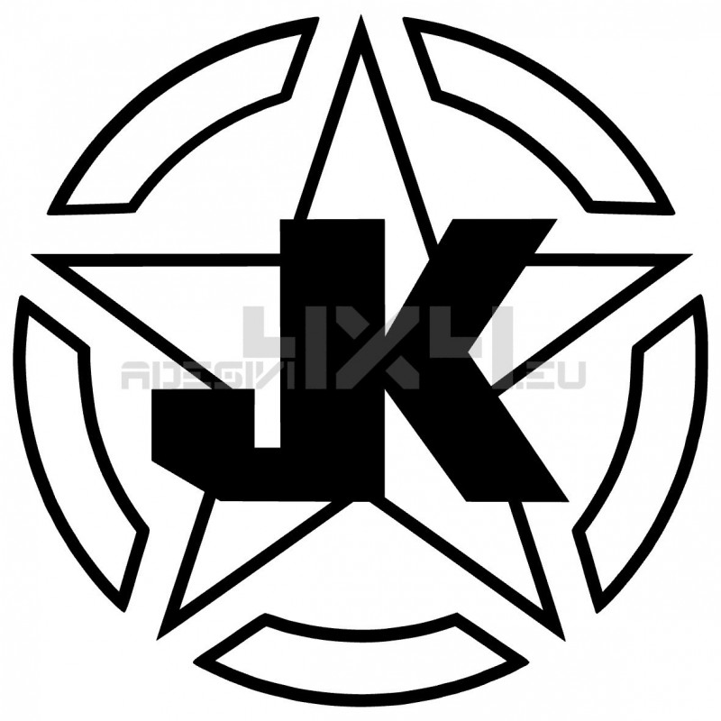 Adesivo stella us army contorno JK